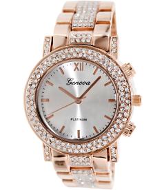 Geneva Platinum Women's 4716.ROSEGOLD Silver Metal Analog Quartz Watch