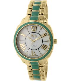 Geneva Platinum Women's 4725.MINT.GOLD Mother-Of-Pearl Metal Quartz Watch