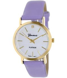Geneva Platinum Women's 9816.LAVENDER.GOLD White Cloth Analog Quartz Watch