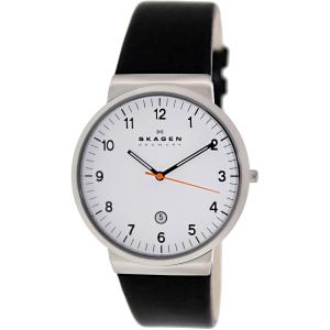 Skagen Men's Ancher SKW6024 Black Leather Quartz Watch