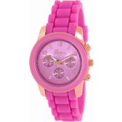 Geneva Platinum Women's 1636.ROSEGOLD.MAGENTA Pink Rubber Analog Quartz Watch