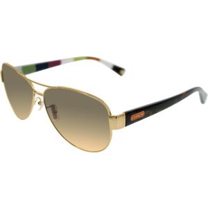 Coach Women's Gradient Kristina HC7003-901295-59 Gold Aviator Sunglasses