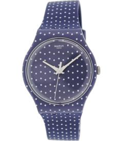 Swatch Women's Originals SUON106 Blue/White Rubber Swiss Quartz Watch