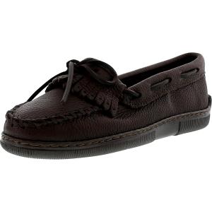 Minnetonka Women's Moosehide Fringed Kilty Ankle-High Leather Flat Shoe