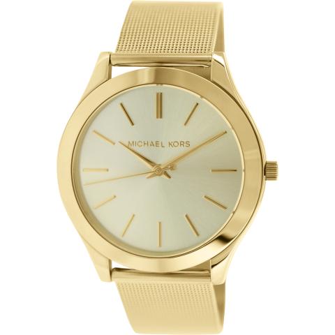 Michael Kors Women's Slim Runway MK3282 Gold Stainless-Steel Plated Japanese Quartz Fashion Watch
