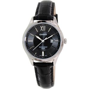 Casio Men's LTPE103L-1AV Black Leather Quartz Watch