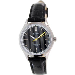 Casio Women's LTPE104L-1AV Black Leather Quartz Watch