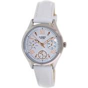 Casio Women's LTPE301L-7AV White Leather Quartz Watch