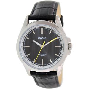 Casio Men's MTPE104L-1AV Black Leather Quartz Watch