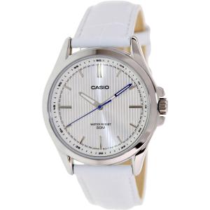 Casio Men's MTPE104L-7AV White Leather Quartz Watch