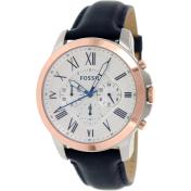 Fossil Men's Grant FS4930 White Leather Quartz Watch