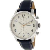 Fossil Men's Townsman FS4932 White Leather Quartz Watch
