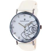 Christian Van Sant Women's Fleur CV2211 White Leather Quartz Watch