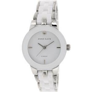 Anne Klein Women's Diamond AK-1611WTSV White Ceramic Analog Quartz Watch