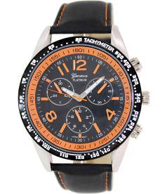 Geneva Platinum Men's 3210.BLACK.SILVER.ORANGE Black Cloth Quartz Watch