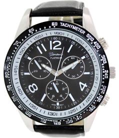 Geneva Platinum Men's 3210.BLACK.SILVER.WHITE Black Cloth Quartz Watch