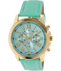 Geneva Platinum Women's 9808.MINT.GOLD Green Cloth Quartz Watch