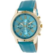 Geneva Platinum Women's 9808.TEAL.GOLD Green Cloth Quartz Watch