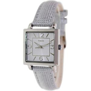 Timex Women's Dress T2P378 Silver Leather Quartz Watch