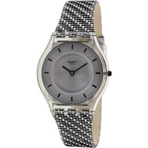 Swatch Women's Skin SFM127 Grey Leather Swiss Quartz Watch