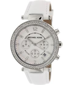Michael Kors Women's Parker MK2277 White Leather Quartz Watch