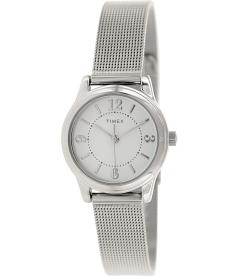 Timex Women's Classic T2P457 White Stainless-Steel Analog Quartz Watch