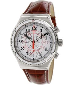 Swatch Men's Irony YVS414 White Leather Swiss Quartz Watch
