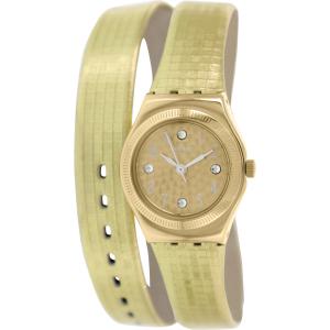 Swatch Women's Irony YSG135 Gold Leather Swiss Quartz Watch