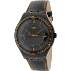 Swatch Men's Irony YWB401 Black Leather Swiss Quartz Watch