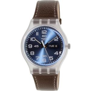 Swatch Men's Originals SUOK701 Brown Leather Leather Swiss Quartz Watch