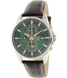 Seiko Men's Sportura SNAF09 Gold Leather Quartz Watch
