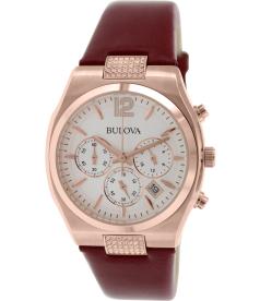 Bulova Women's Crystal 97M108 Silver Leather Quartz Watch