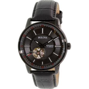 Bulova Men's Automatic 98A139 Black Leather Automatic Watch