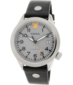 Fossil Men's Aeroflite AM4560 Black Leather Quartz Watch