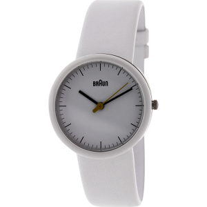 Braun Men's BN0021WHWHWHL White Leather Analog Quartz Watch