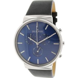 Skagen Men's Ancher SKW6105 Black Leather Analog Quartz Watch