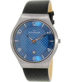 Skagen Men's SKW6148 Black Leather Quartz Watch