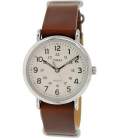 Timex Men's Weekender T2P495 Beige Leather Analog Quartz Watch