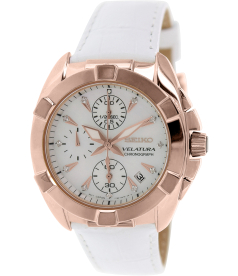 Seiko Women's SNDX92P2 White Leather Quartz Watch