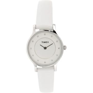 Timex Women's T2P315 White Leather Analog Quartz Watch