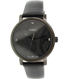 Timex Women's Originals T2P461 Black Leather Analog Quartz Watch