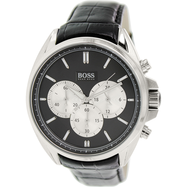 hugo boss men 39 s 1512879 black leather quartz watch. Black Bedroom Furniture Sets. Home Design Ideas