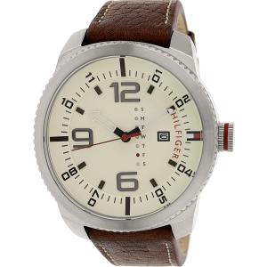 Tommy Hilfiger Men's 1791013 Brown Leather Analog Quartz Watch