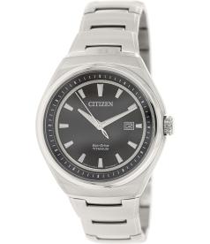 Citizen Men's Eco-Drive AW1251-51E Silver Titanium Quartz Watch