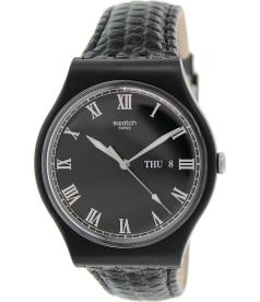 Swatch Men's Originals SUOB710 Black Leather Swiss Quartz Watch