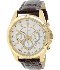 Citizen Men's AN8043-05A Silver Leather Analog Quartz Watch