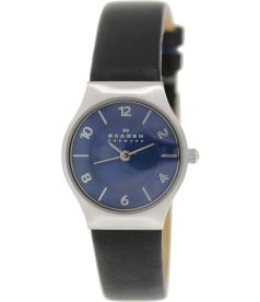 Skagen Women's SKW2206 Black Leather Crocodile Leather Quartz Watch