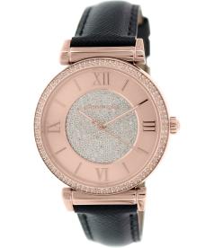 Michael Kors Women's Runway MK2376 Black Leather Quartz Watch