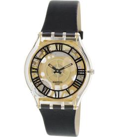 Swatch Women's Skin SFK392 Black Leather Swiss Quartz Watch