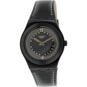 Swatch Women's Irony YLB1002 Black Leather Swiss Quartz Watch